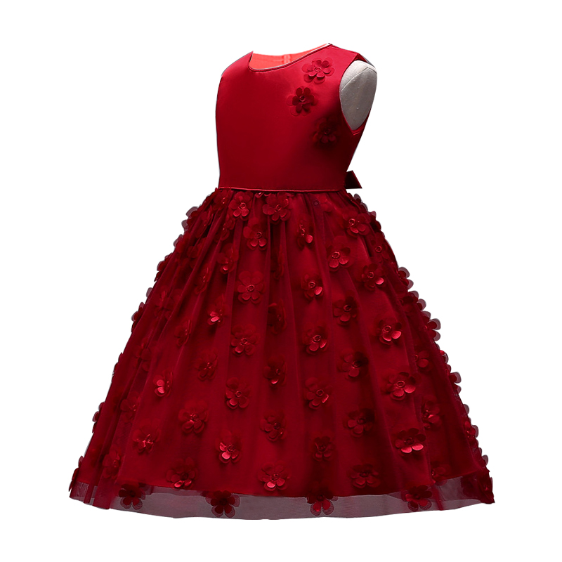 Girls Party dresses Kids Baby Girls Flower Birthday Wedding Bridesmaid Pageant Princess Formal Dress 2 3 4 5 6 7 8 years pageant 3d rose flower girls red dress kids frocks princess party birthday wedding dresses vestidos clothes for 2 4 6 8 10 years