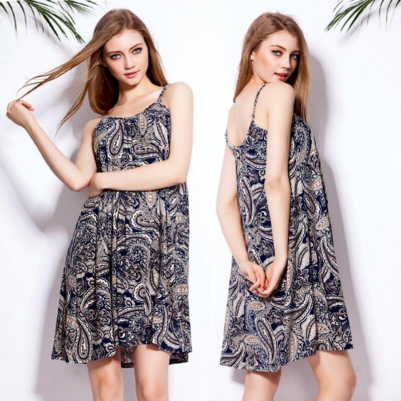 SWIMMART vzor košile šaty ležérní volné letní špagety noční prádlo natáhnout bavlnu domácí šaty pláž ulice drop doprava