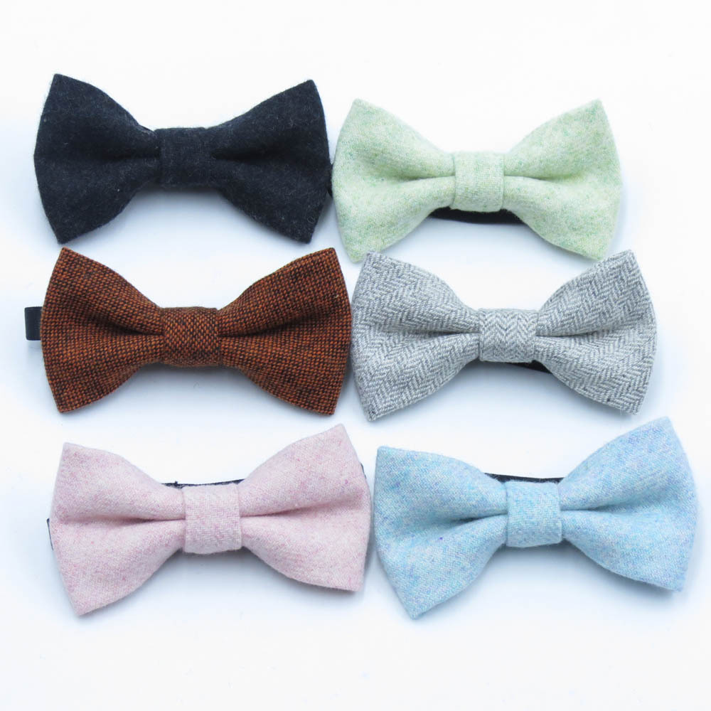 Fashion Children Wool Bow Tie For Baby Boys Skinny Bowtie Solid Color Child Bowties Gravatas Borboleta Collar Kids Ties