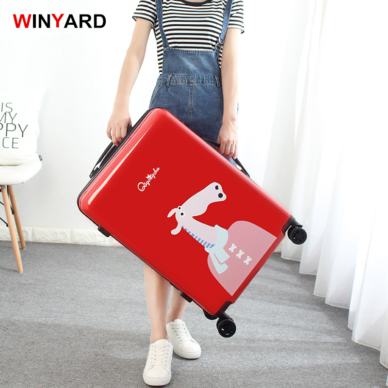 UK stryle trolley travel luggage female universal wheels luggage,20inches abs+pc hardside animal cartoon suitcase for girl gift wholesale 24 inch abs pc red cartoon hardside suitcase good quality fashion universal trolley luggage gift for girl euro style