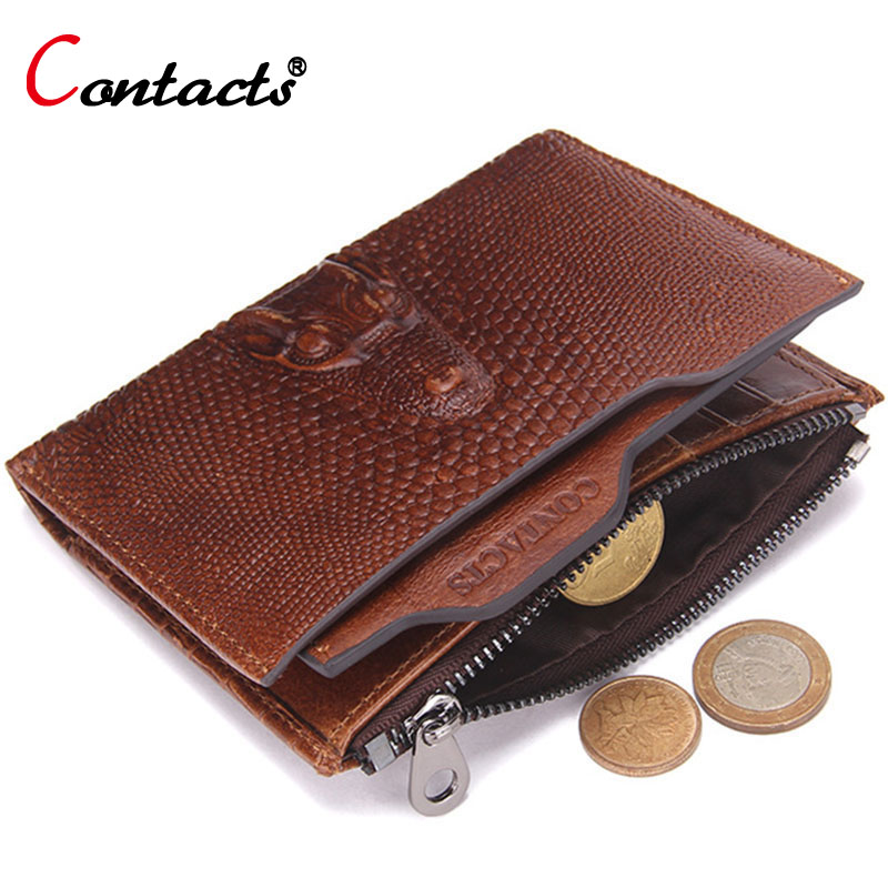 CONTACT'S Alligator Genuine Leather Wallet Men Short Coin Purse Vintage Men Clutch Bag Famous Brand Card Holder Money Bag Wallet