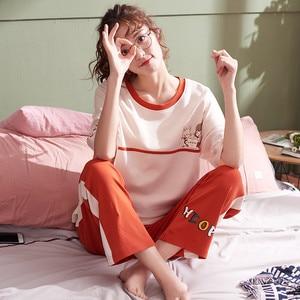 Image 2 - Große Yards XXL Frauen Pyjamas Sets 100% Baumwolle Nachtwäsche Frühling Sommer Kurzarm Pyjamas Oansatz Nachtwäsche Weibliche Pijamas Mujer