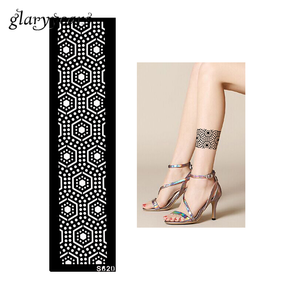1 Piece Hollow Henna Tattoo Stencil Women Arm Leg Body Art Strip Bracelet Pattern Design Health Tattoo Stencil Summer Style S620