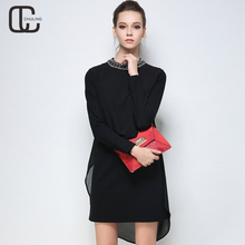 Autumn Winter Plus Size Women Dresses Bead Long Sleeves Elegant Casual Black Cotton Patchwork Chiffon Woman