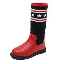 Детская обувь шерсти вязать носки Подключите сапоги для девочек водонепроницаемые ботинки без застежки Повседневные детские плюшевые сапоги резиновые сапоги размер 28-37