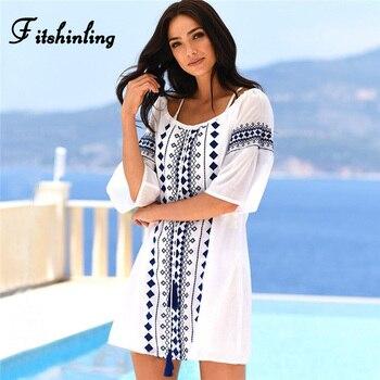print tassel sexy white holiday boho short dresses female