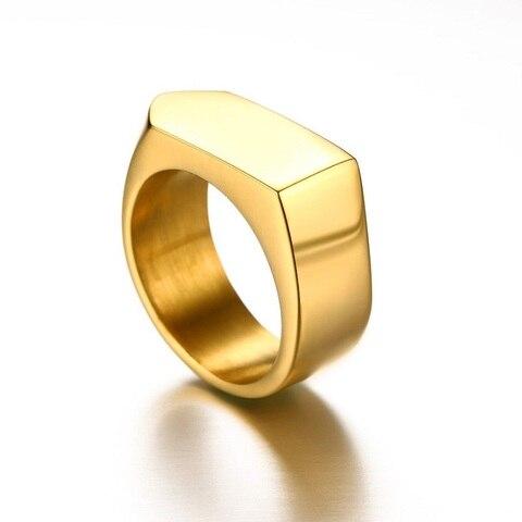 Модные черные золотые серебряные кольца из нержавеющей стали