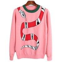 Women Sweaters Snake Embroidery Jumper Pull Femme 2017 Winter Long Sleeve Warm Knitting Pullovers Sweaters Women