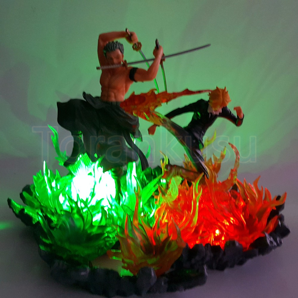 One Piece Action Figure Zoro Sanji Fighting Fire Scene DIY LED Lights Toy Anime One Piece
