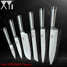 XYj 6pcs Kitchen Knives Set Paring Utility Santoku Bread Slicing Chef Knife Seamless Welding Completely Stainless Steel
