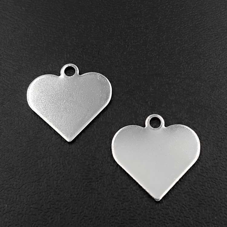 50pcs Stainless Steel Heart Charm Pendants Blank Stamping Tags Silver Tone 14*16*0.8mm For Making jewelry