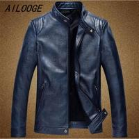 AILOOGE 2017 Black Red Leather Jacket Men Motorcycle Jaqueta Couro Masculina Casaco Masculino Waterproof Mens Overcoat