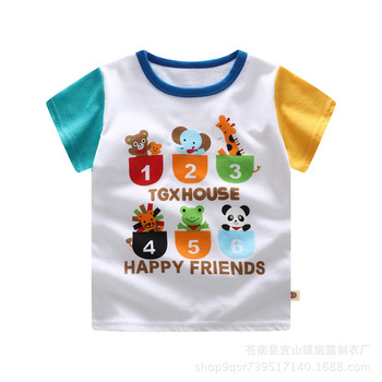 Summer Boys Shirts Cotton Children T-shirts Colored Tops For Girls Short Sleeve Kids Blouse Toddler Tees Baby Clothing Boys T Shirts