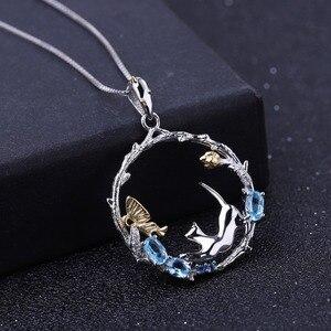 Image 2 - GEMS BALLETT Natürliche Swiss Blue Topas Feine Schmuck 925 Sterling Silber Handmade Schmetterling Blume Knospe Anhänger Halskette für Frauen
