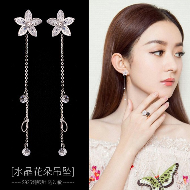 2017 New Arrivals Free Shipping Fashion 925 Sterling Silver Flower Crystal Stud Earrings For Women Jewelry цена и фото