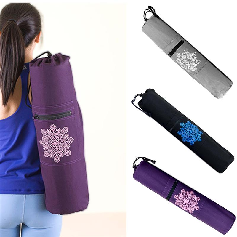 RUNACC Canvas Strap Exercise Gym Fitness Pilates Yoga Mat Carring Bag Carrier Backpack for Under 6 mm Thick Yoga Mat canvas elephant yoga mat bag large capacity gym bag sports handbag fitness dance gymnastics pilates athletes exercise mat bags