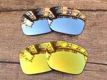 65048c71c1c14 Cromo plata y oro 24 K 2 pares espejo polarizado Objetivos para Holbrook  Gafas de sol Marcos 100% UVA y UVB protección