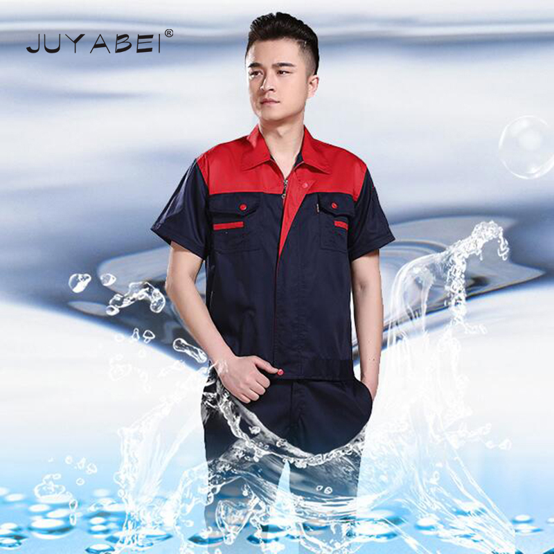 2018 Hot Men Work Wear Sets Two Pieces Mixed Colors Zipper Shirts Pants Auto Repair Service Sets With Pockets Summer Workshop