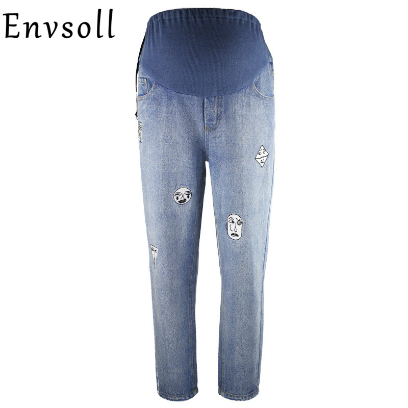 Envsoll Elastic Waist Maternity Clothes Maternity Jeans Trousers Maternity Clothes For Pregnant Women Fine Pregnancy Pants trendy snow wash slimming elastic waist capri jeans for women