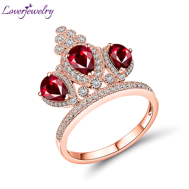 Loverjewelry Diamond Rings For Women Solid 18k Rose Gold Crown Ring Natural Ruby Gemstones Party Engagement Female Gift Jewelry