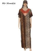 להקת Mr Hunkle של נשים סקסי Leopard מקסי שמלה ארוך הרופף קשמיר צווארון V שרוול התלקחות שמלת שמלות נשים אפריקאיות עם צעיף