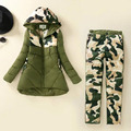 Rihschpiece  Down Coat Tracksuit Winter Jacket Pants Women Hoodie Parka 2 Piece Set Camouflage Womens Winter Suit RZF822