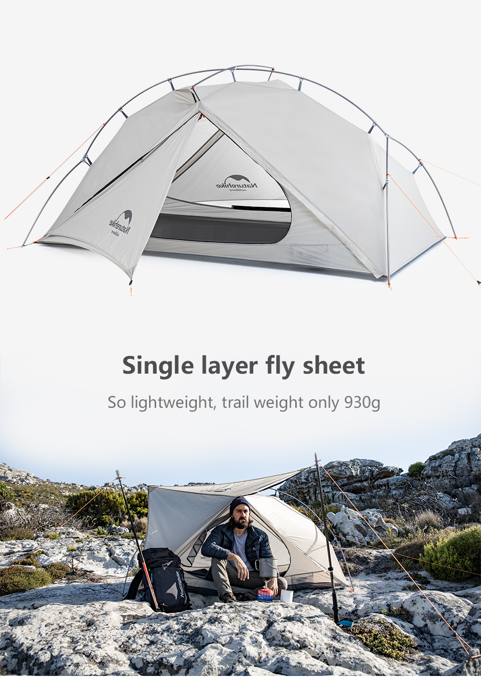 Naturehike VIK Serie Outdoor single tent ultra light 0.93kg 15D nylon camping hiking snow rainproof portable aluminum tent - 6