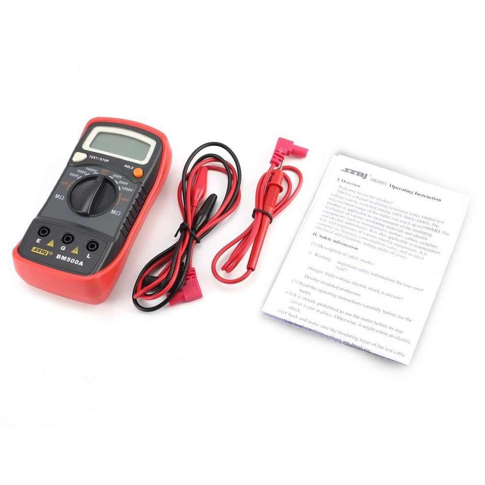 BM500A Digital Megger 1000 V Auto Range Multímetro Voltímetro ohm Medidor de Resistência de Isolamento Tester Megohmmeter indicação LED
