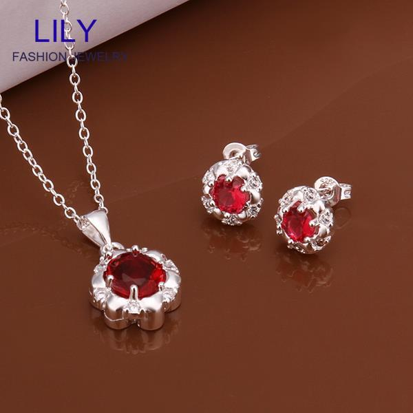 S555 New Design Christmas Gifts Red Jewelry Sets Statement Necklace Set 925 Silver Ruby Necklaces