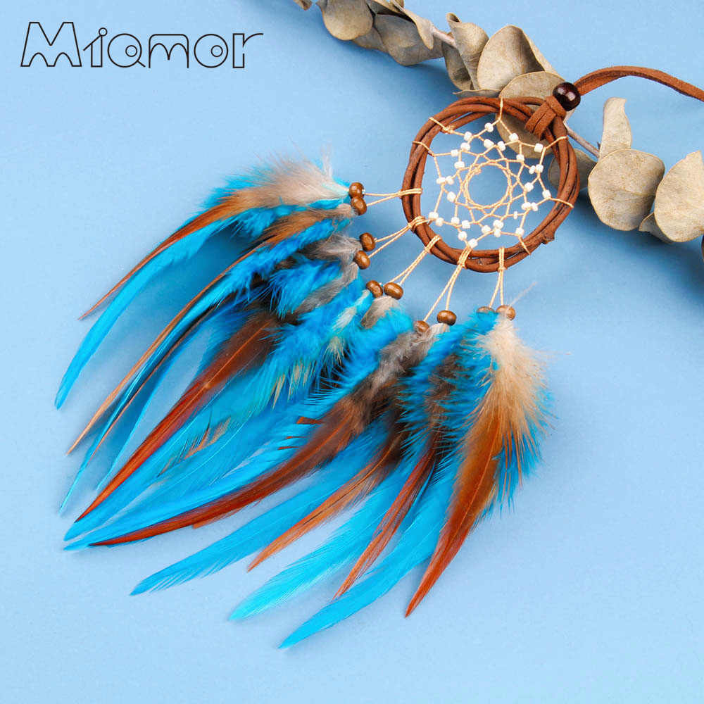 MIAMOR MINI Rattan Circle Dream Catcher Pendant Mori Girl Style Necklace For Lady Car & Bag Decoration Accessories Gift AMOR0378