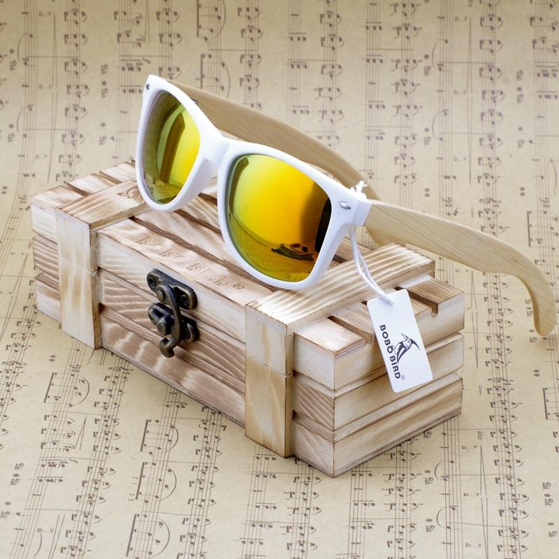 Gafas de sol polarizadas rectangulares de madera auténtica de bambú real con tinte reflectante gafas de sol