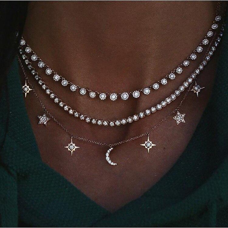 Богемное многослойное ожерелье с кулоном из кристаллов для женщин, золотые модные многослойные ожерелья и кулоны, ювелирные изделия - Окраска металла: NE-0205-14