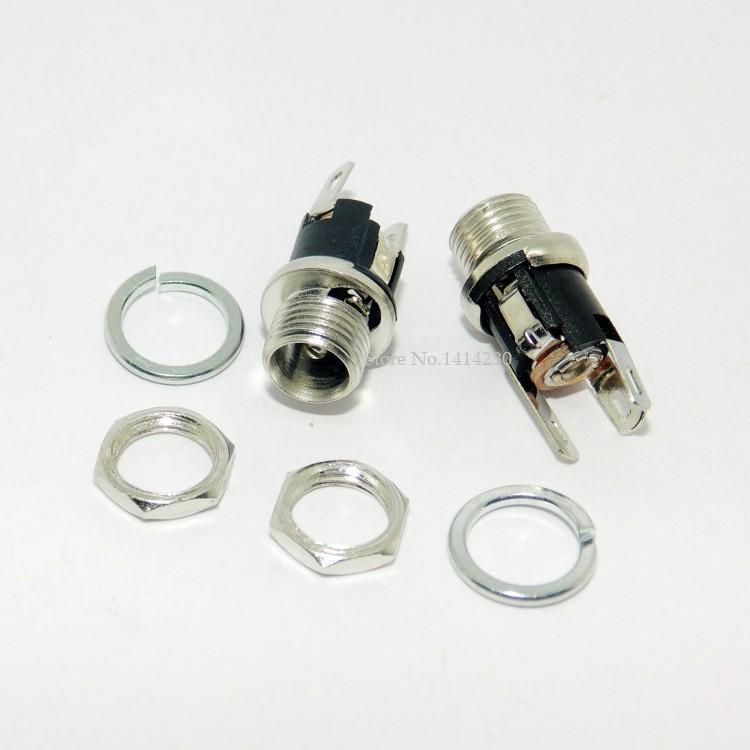 5Pcs 5.5-2.1MM 5.5 * 2.1 DC Socket With Nut DC Power Jack Socket Female Panel Mount Connector