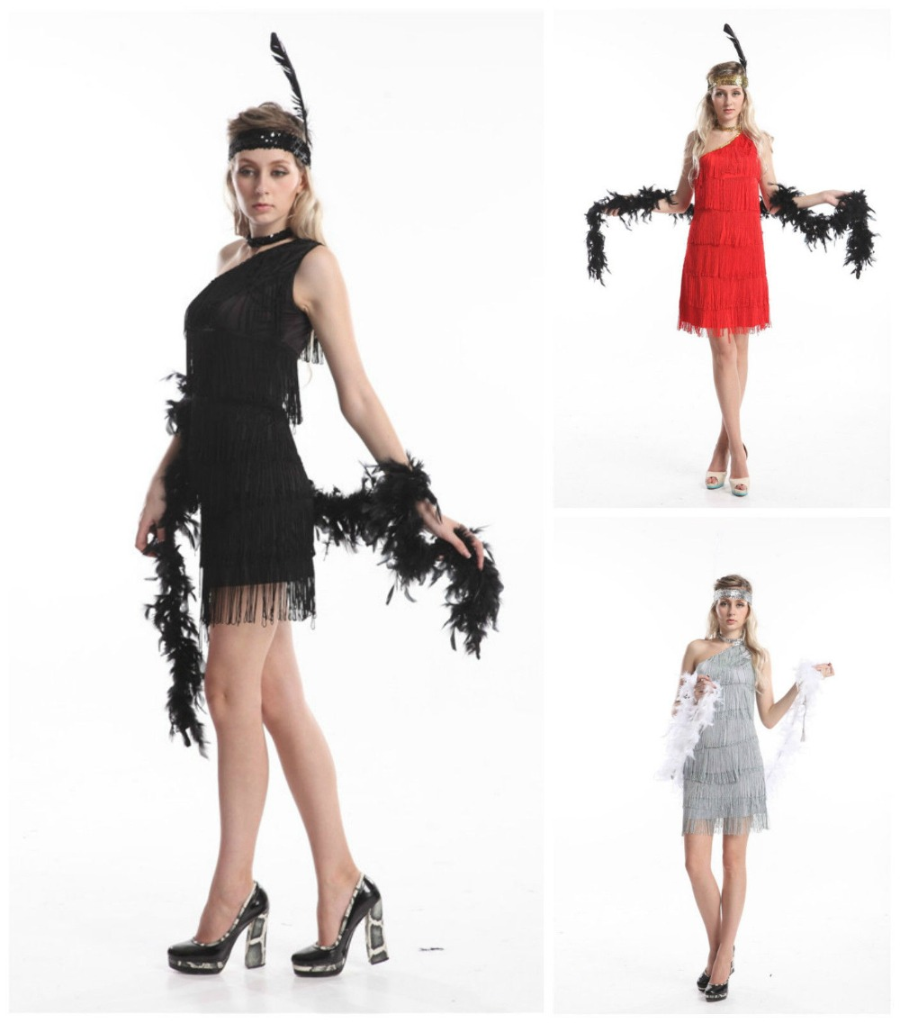 xxxl plus size Sexy Ladies 20s 1920s Charleston Flapper Chicago Girl Fancy Dress Party Costume with boa headband feather accessy