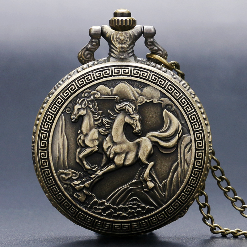 Free Shipping Antique Bronze 3D Double Horse Quartz Pocket Watch Necklace Pendant Womens Men GIfts