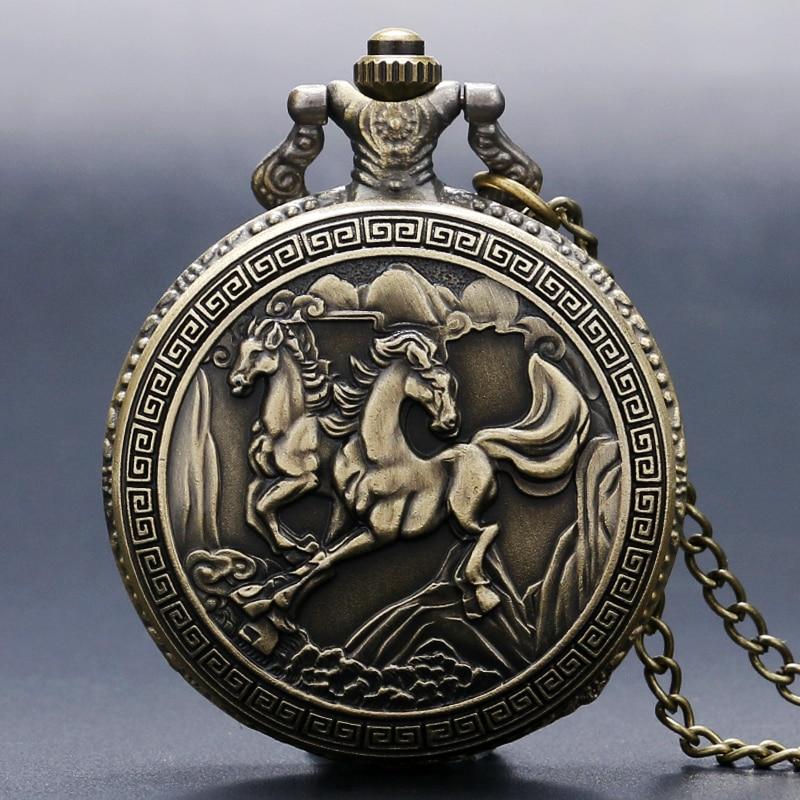 Бесплатная доставка античная бронзовая 3D дважды лошадь кварцевые карманные часы ожерелья женщин мужчины подарки