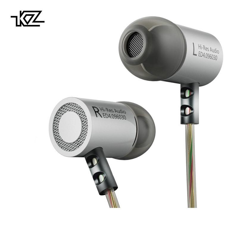 KZ ED4 Metal Stereo Headphoens Promotions Earphone Noise Isolating In-ear Music Earbuds with Microphone for Mobile Phone MP3 MP4