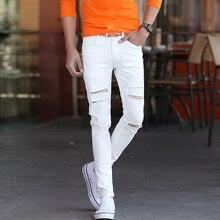 Супер тощий известный дизайнер бренда уменьшают подходящий уничтожено рваных джинсах / новый белый рваные джинсы мужчины с отверстиями брюки для мужчин MB16111