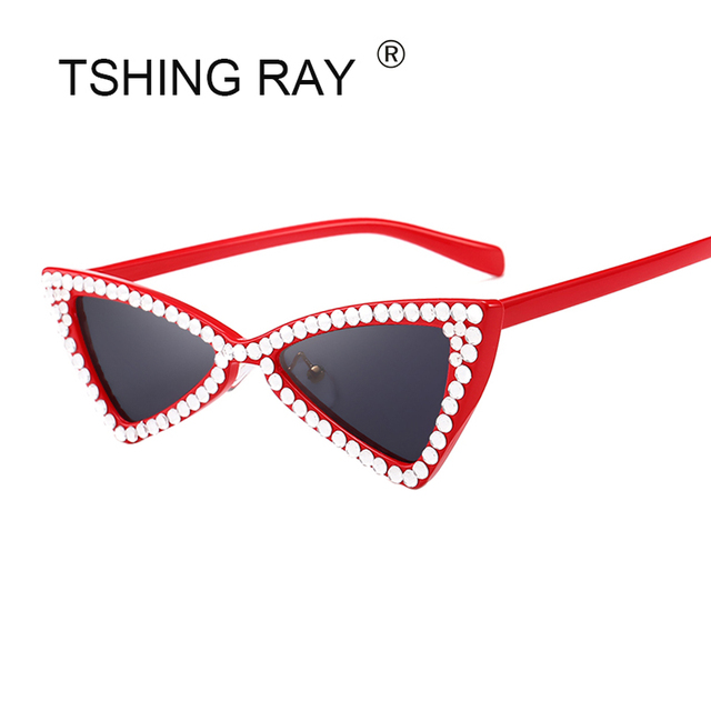 297516e464 TSHING RAY Fashion Crystal Frame Cat Eye Sunglasses Women Luxury Diamond  Small Triangle Designer Sun Glasses For Female Shades