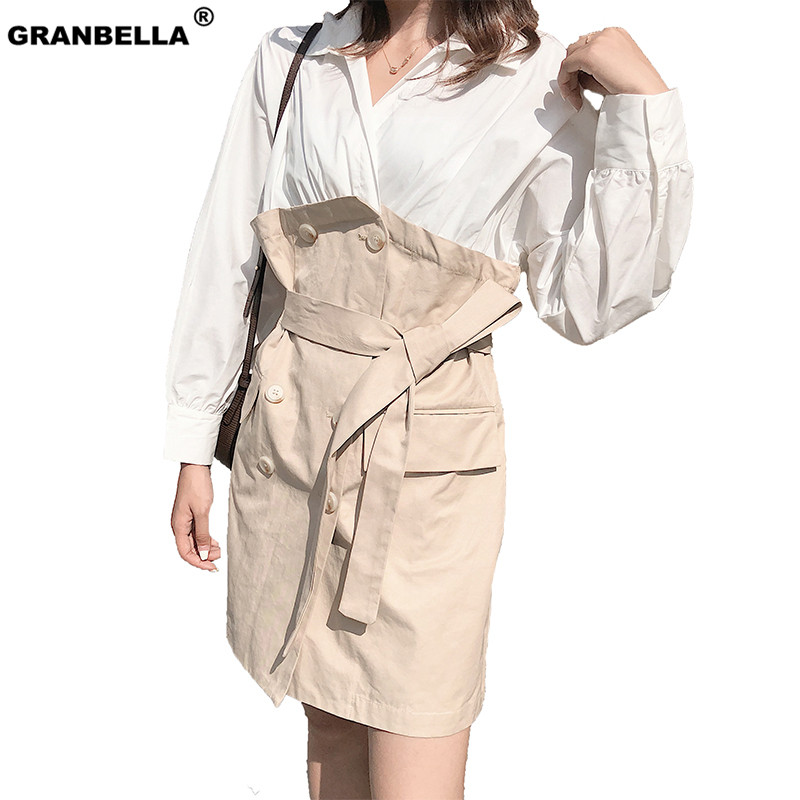 Korean and Japanese Cute Lovely Patchwork   Trench   Coat With Sashes Women Spring Summer Shirt Style Casual Outerwear Chic Coat