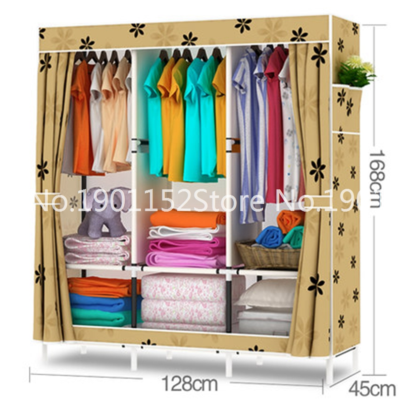 Free Shipping Simple Ikea Cloth Wardrobe Folding Embled Portable Storage Cabinet