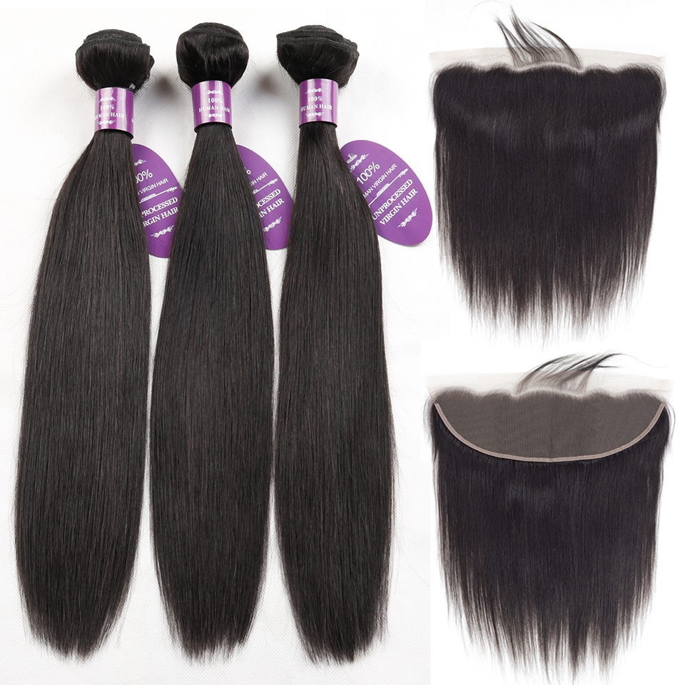 QueenLike Products Peruvian Lace Frontal Closure With Bundles 100 Human Hair Non Remy 2 3 4