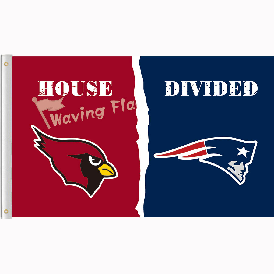 Arizona Cardinals vs New England Patriots House Divided Rivalry Flag 3*5 100D Polyester free shipping