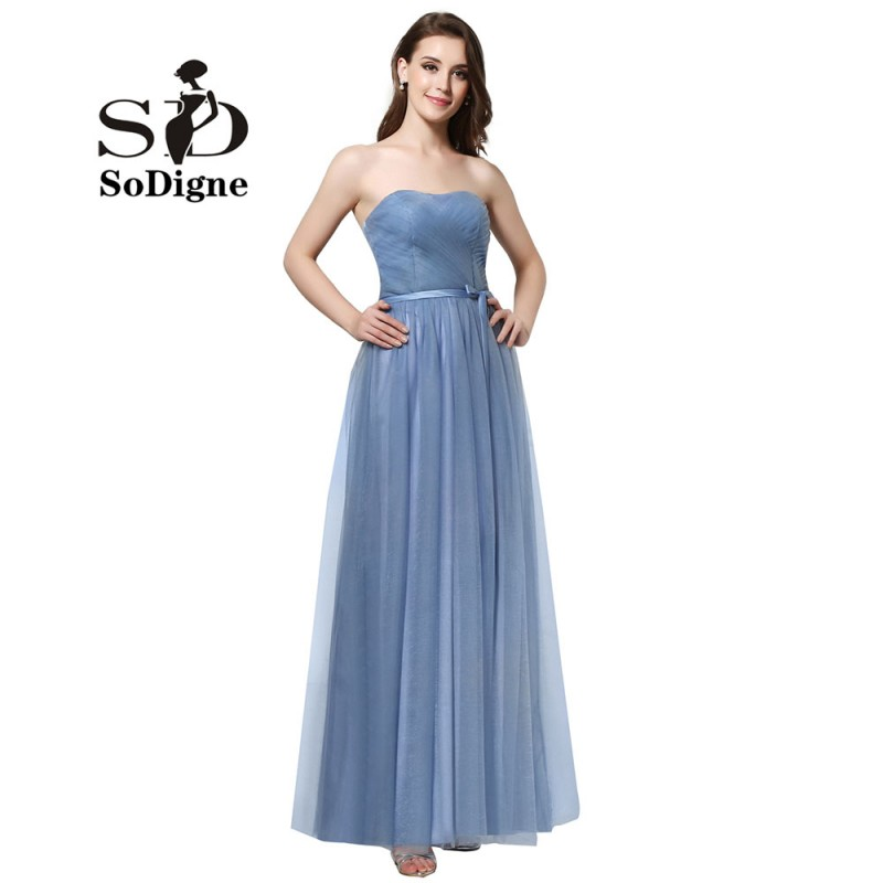 Cheap Bridesmaids Dress Blue 2018 A-line Simple Formal Dress Women Wedding Lace-up Wedding Party Dresses Custom Made