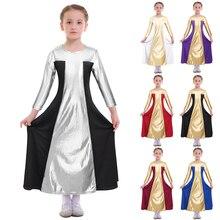 Elegant Girls Praise Dress Metallic Color Splice Praise Liturgical Dance Dress Pleated Swing Kids Girls Ballet Dance Long Dress