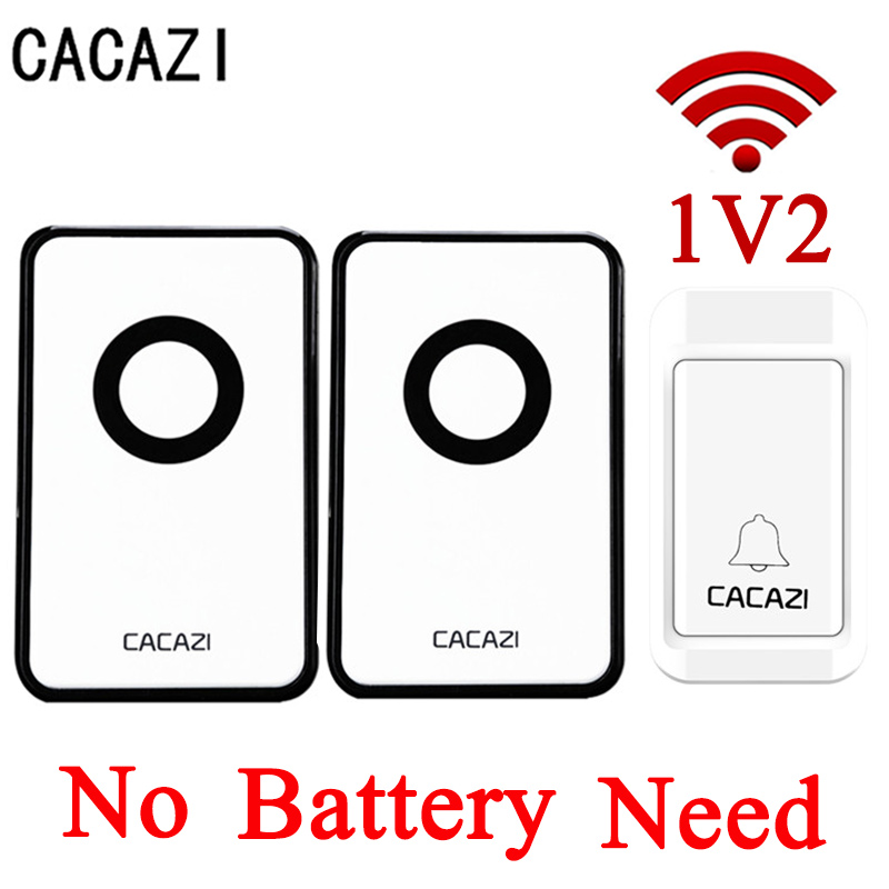 CACAZI NEW No Battery Self Powered Wireless DoorBell Waterproof Door Bell AC220V 120M Remote EU US Plug 3 Volume Home Door Bell cacazi ac 110 220v wireless doorbell 1 transmitter 6 receivers eu us uk plug 300m remote door bell 3 volume 38 rings door chime