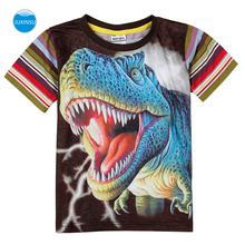 JUXINSU Kids Summer Cotton Boys Stripe Short Sleeve T-shirt 3D Printed Dinosaur Cartoon Smooth and breathable for 1-8 Years