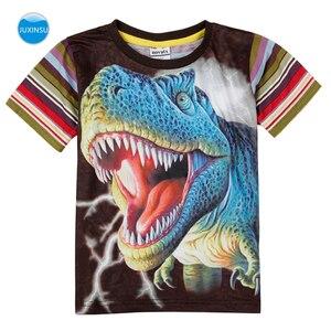 JUXINSU Kids Summer Cotton Boys Stripe Short Sleeve T-shirt 3D Printed Dinosaur Cartoon Smooth and breathable for 1-8 Years