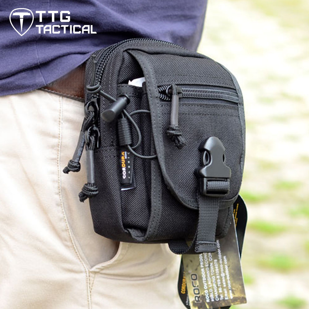 TTGTACTICAL Sports Tactical Waist Bags Compact MOLLE EDC Pouch Utility Gadget Pouch Portable Military Belt Waist Bag Pocket drawstring waist sleeveless utility jumpsuit