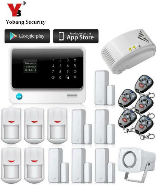 YobangSecurity 2.4G Touch Keypad Wireless WIFI Alarm System Security Home IOS Android APP Remote Control Gas Leakage Detector yobangsecurity touch keypad wireless home wifi gsm alarm system android ios app control outdoor flash siren pir alarm sensor